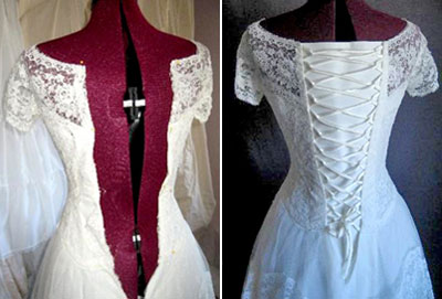 A lace Up back modifies vintage wedding dresses for new brides