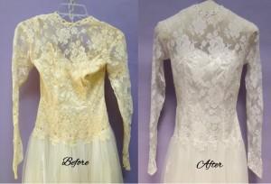 Wedding gown restoration risks