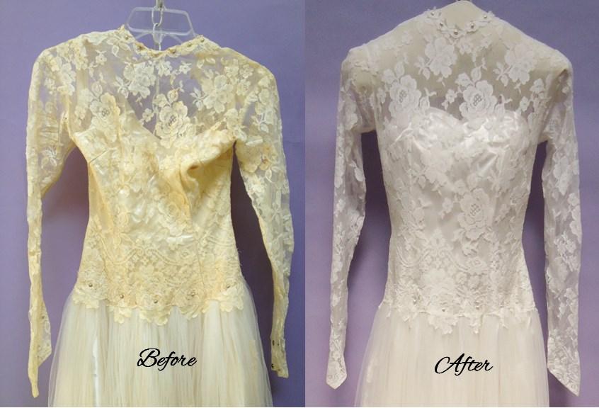 Wedding dress restoration treatment methods and risks for Vintage wedding dress restoration