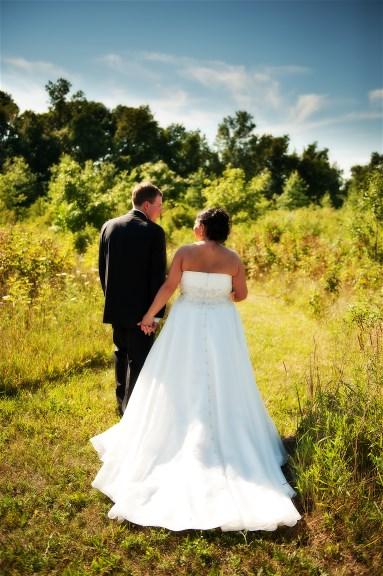 Jessica Baums wedding dress preservation - walking field