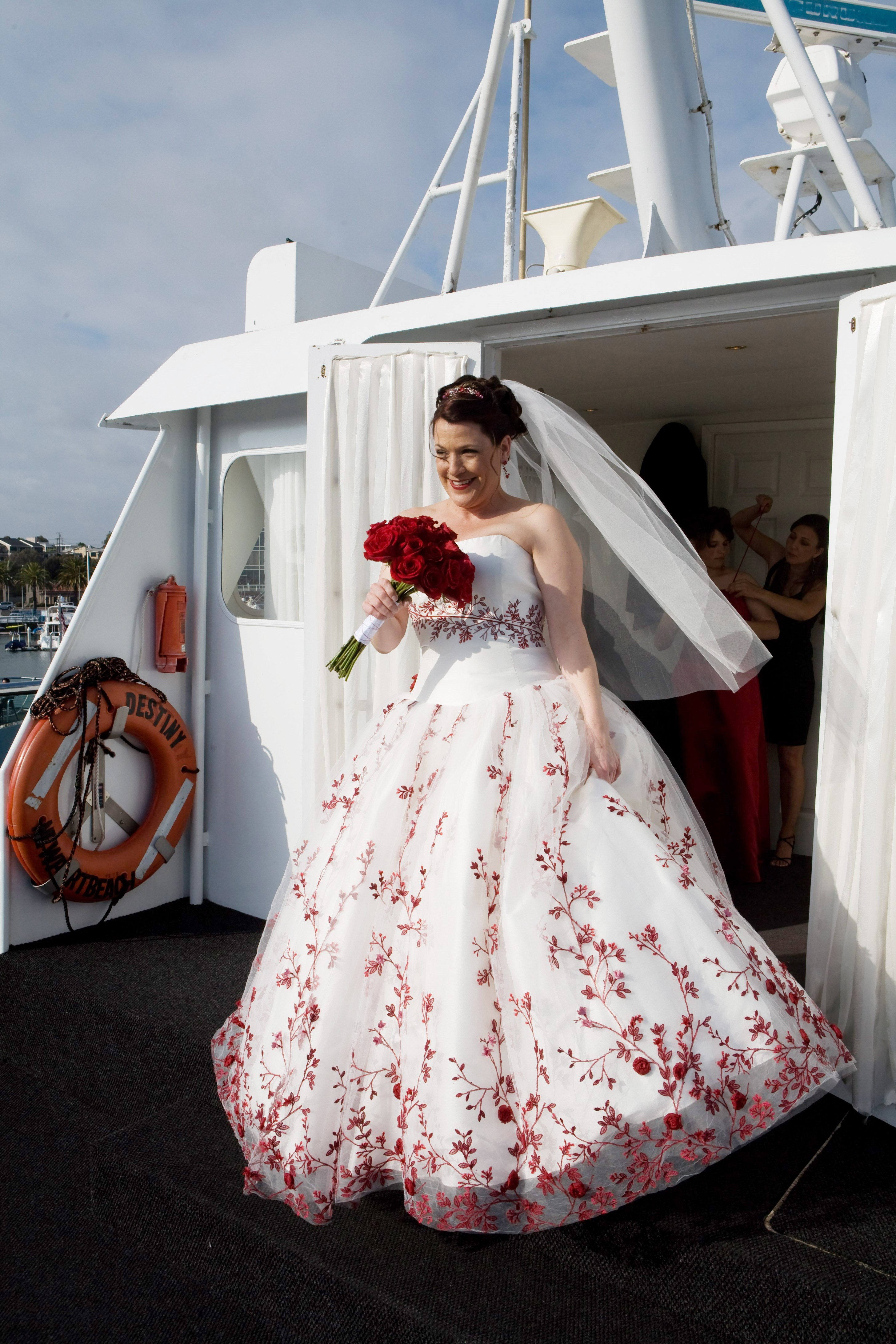 Danielle's Wedding Gown With Red