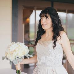 Annie with bouquet - a beautiful wedding dress story