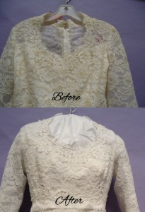 Barbara's Bodice Before and After wedding gown restoration
