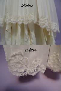 Hemline Before and After wedding gown restoration