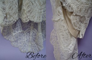 We were able to get the dirt off these lace hemlines.