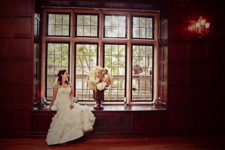 Jennifer in wedding gown - window seat - wedding dress story