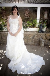 Ashley wears her dress on her wedding day.