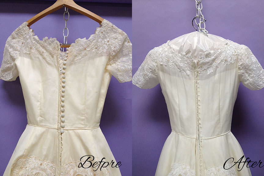 The Dress Had Slightly Yellowed Since Its Previous Cleaning But We Were Able To Get