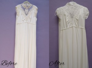 The dress was able to be cleaned and altered for the big day.