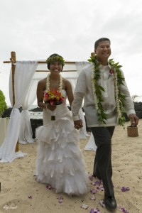 Laura was married on a Hawaiian beach.