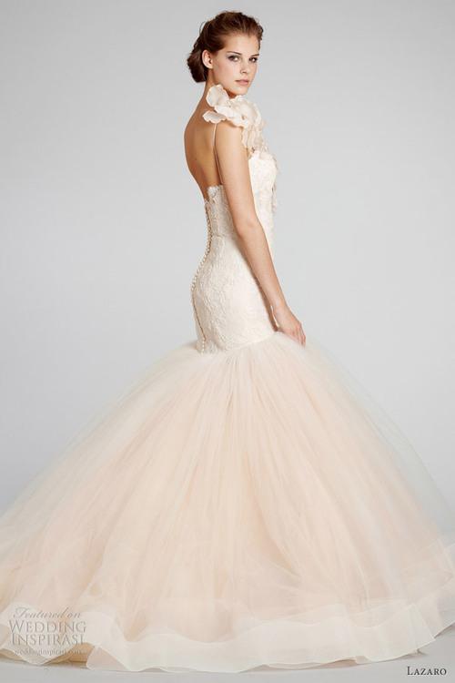 "Wedding gown by <a href=""http://www.jlmcouture.com/Lazaro"">Lazaro</a>"