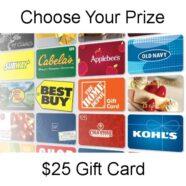 Natalie Wins $25 Gift Card Facebook Prize