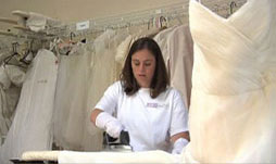 Our wedding gown cleaning and preservation includes Hand Pressed wedding Gowns