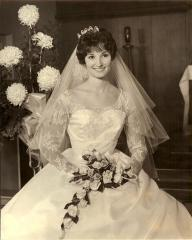 June married her sweetheart while wearing a silk organza dress.