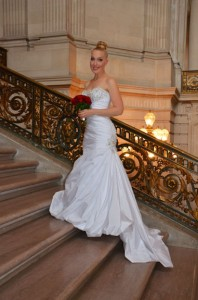 Chri on stairs on wedding day