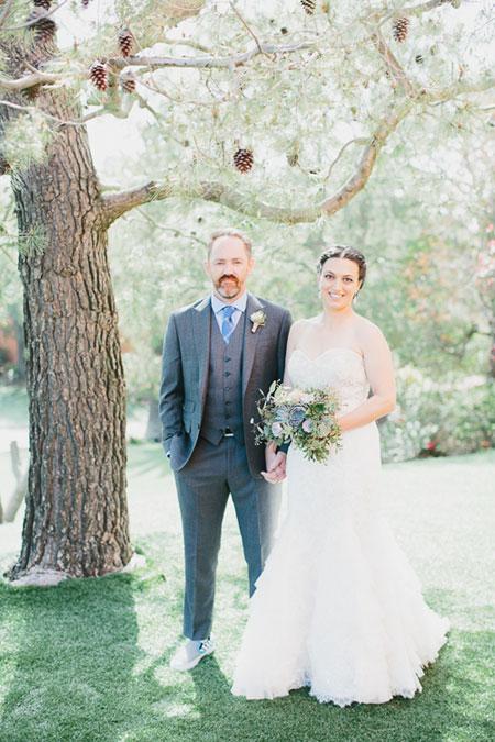 Lauren in beautiful wedding dress in garden