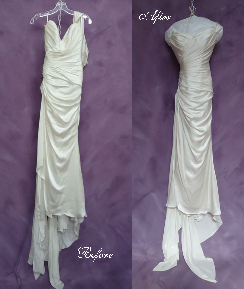Morena's beautiful wedding dress is now like new with our expert wedding dress cleaning and preservation