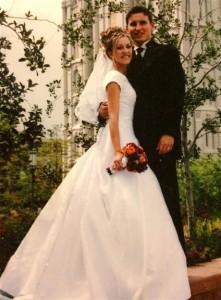 Emily wears the wedding dress after Katy