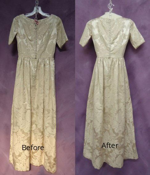 Barbara Woodhouse wedding dress restoration back view