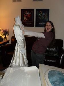 Rowenna opens her mother's wedding dress box
