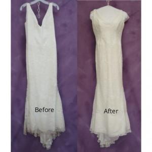 Laura's Vera Wang wedding dress repair is amazing