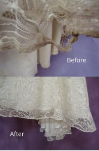 Vera Wang wedding dress in shreds, but perfect after wedding gown repair