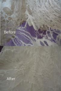 Closeup of Vera Wang wedding dress repair