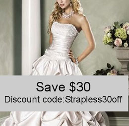 Save $30 on your strapless wedding dress care