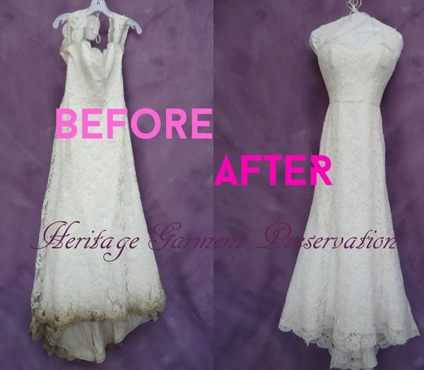 Wedding dress cleaning process