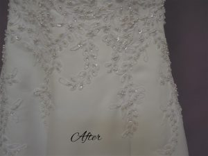 Good Morning America Wedding dress cleaning gown after stains were removed