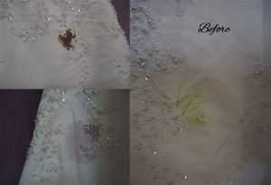 Good Morning America Wedding dress cleaning test gown with stains