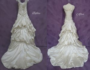Deborah Castle's Wedding Dress cleaning - Back Before and after