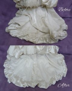 Deborah Castle's wedding Dress train before and after cleaning