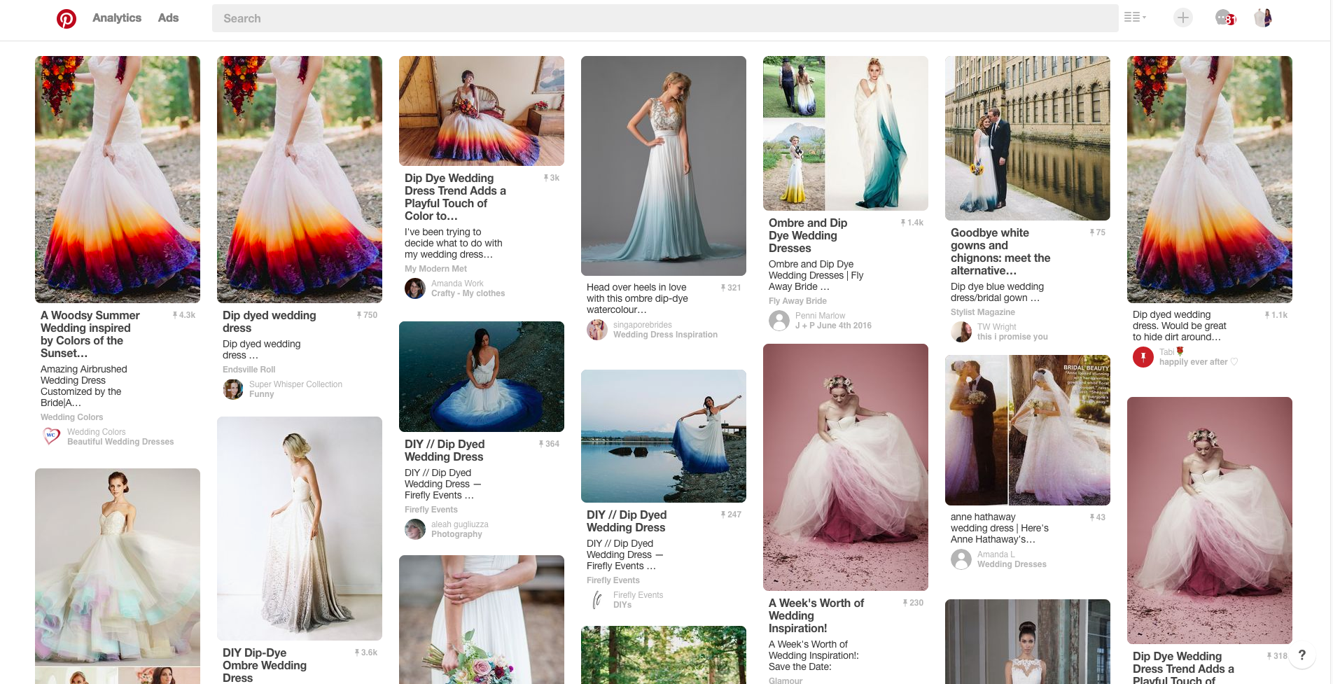 "Photo credit: A screenshot of the keyword ""dipped wedding dresses"" search result on Pinterest."