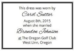 Wedding dress preservation custom label