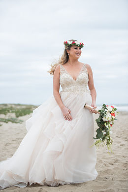 Stephanie Perez lovely in her soft, romantic wedding dress.