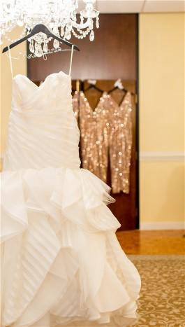 Gen's striped wedding dress adds flair to her wedding.