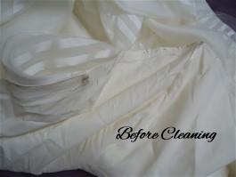 Gen's wedding dress hemline needs thorough wedding dress cleaning.