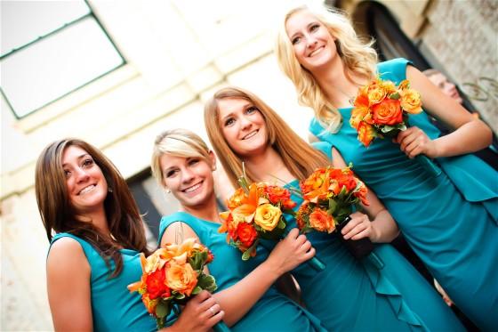 Angled bridesmaid shot adds fun to standard wedding day photos