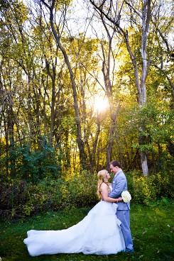 A fairy tale wedding day dressed in Belle wedding dress.