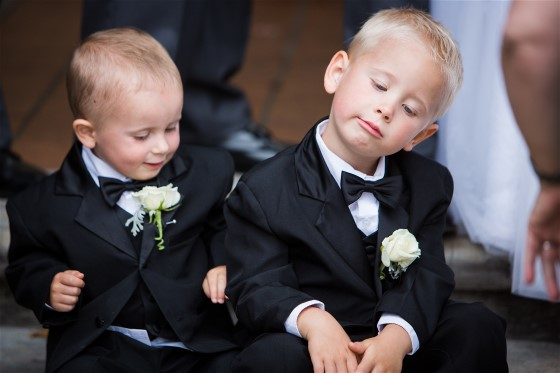 These tiny groomsmen may have had enough wedding day photography