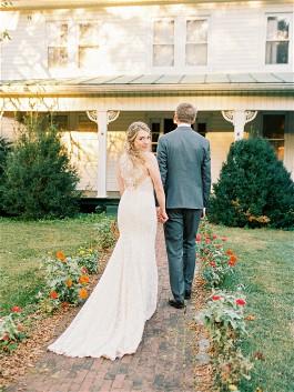 Sarah's wedding dress illusion back is beautiful.