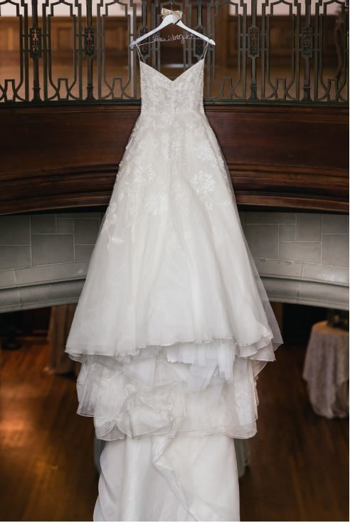 Stephanie's Lela Rose wedding dress is ready for her on her wedding day. It is beautiful.