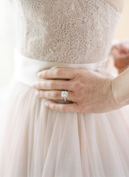 Rachel found her dress at Anthropologie. She convinces her fiance that pink was perfect.