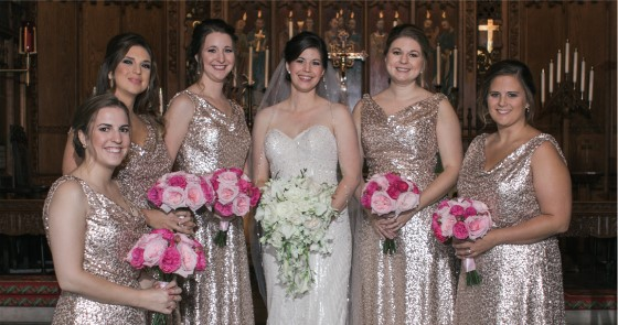 Erica and her bridesmaids look stunning at Erica's wedding. Wedding dress preservation will help her dress look stunning for years to come.
