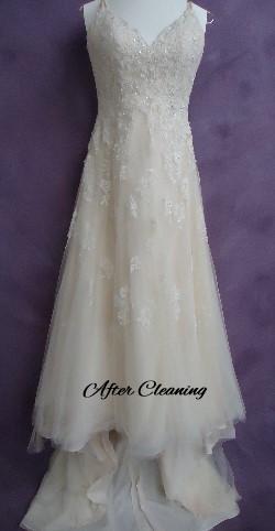 Jen's wedding dress after HGP's expert wedding dress cleaning.