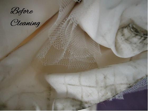 Jen's wedding dress before wedding dress cleaning.