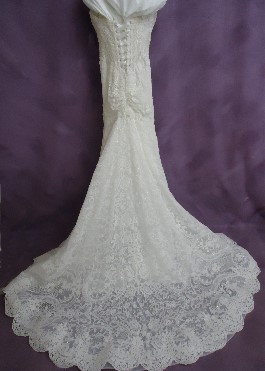 Jessica's wedding gown after expert wedding dress cleaning.