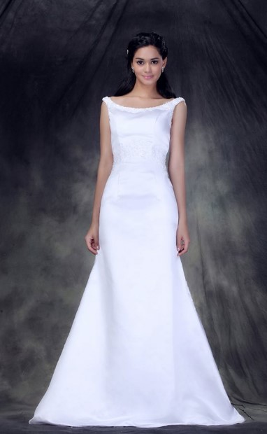 This very affordable wedding dress has similar neckline and skirt style to Megan Markle's. However, it is sleeveless and Megan's gown had a 3/4 length sleeves.