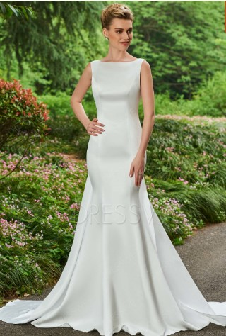 Another sleeveless and also very affordable wedding dress with similar neckline and skirt style to Megan Markle's.